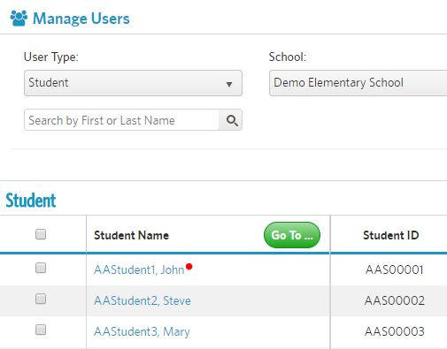 click student name