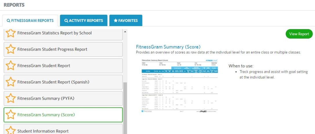 Fitnessgram Summary Report  Fitnessgram Software Help
