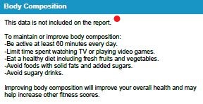 body comp section on student report