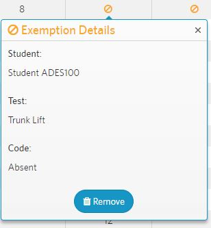 click on the no symbol to display the exemption