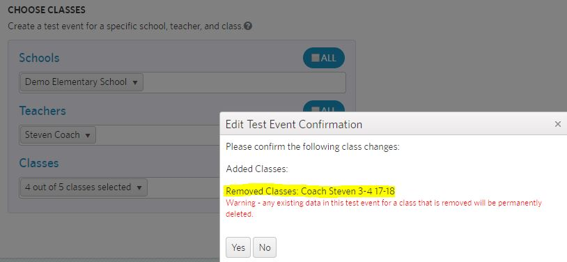 edit classes in test event