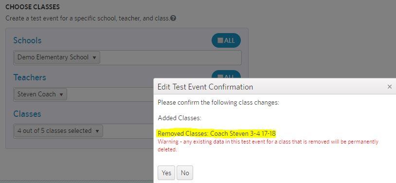 edit classes in test event