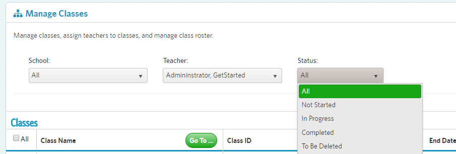 manage classes filters