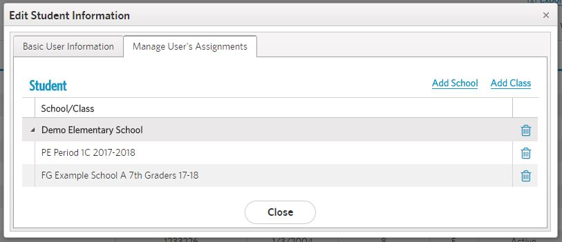 view assignments tab with new class