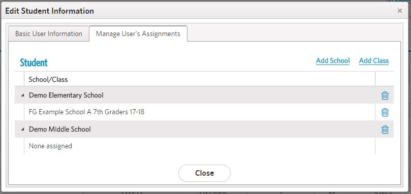 view assignments tab with new school